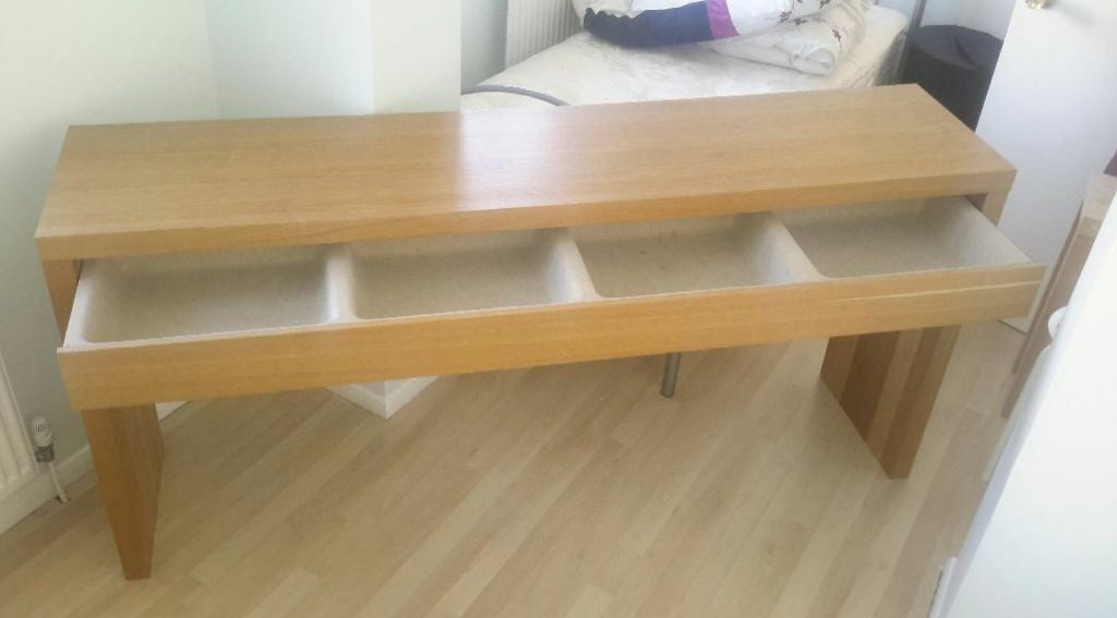 Ikea malm oak long dressing table or desk good condition for Dressing table long