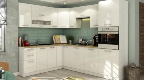 Küchen l form hochglanz  NEUE KÜCHE TIFFI HOCHGLANZ MDF L-FORM 250X215CM ERWEITERBAR in ...