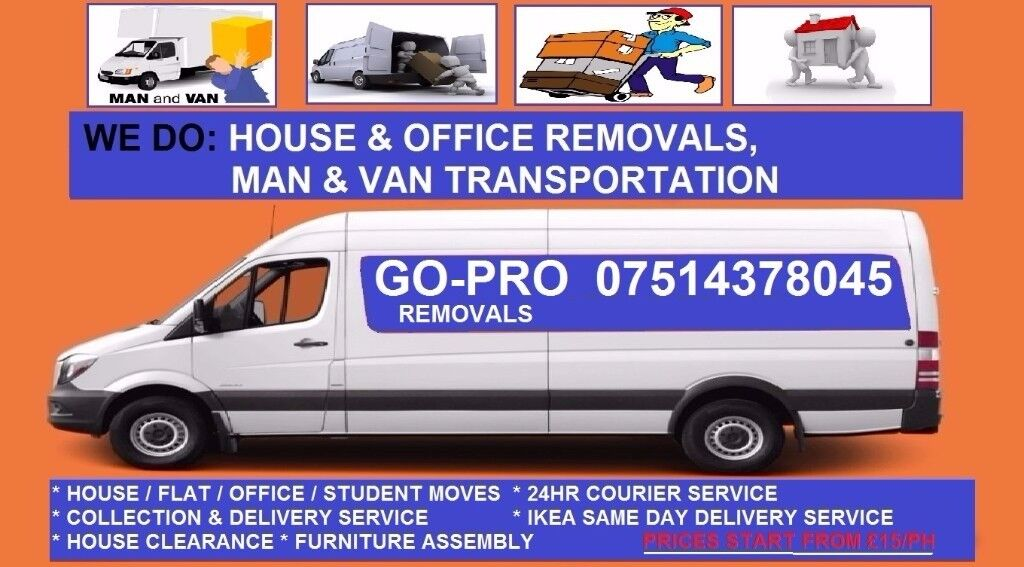 Go-Pro Removals, Plaistow based , Home moving, Office relocations,Man & Van,IKEA Delivery,Courier
