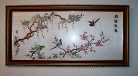 "Lovely Traditional Handmade Oriental Embroidered Silk Artwork, ""Birds On Plants"","
