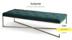 NEW!! MADE. com JULIANNE Ottoman Pouffe Bench in Petrol teal cotton velvet brass gold Notts
