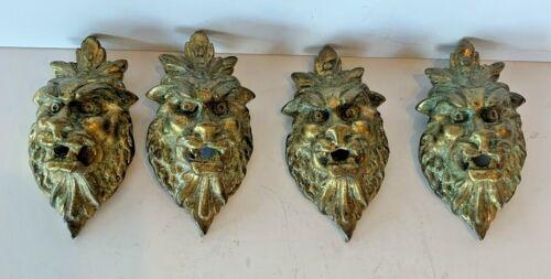 Set 4 Fabulous French Antique Gilt Bronze Lion Faces Ormolu Furniture Hardware