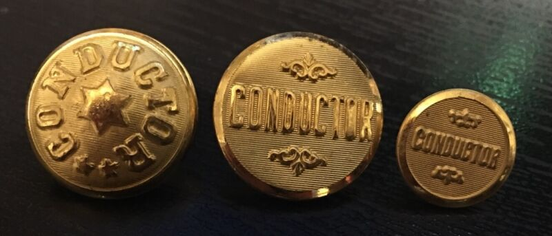 3 Conductor Railroad uniform button