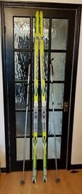 Classic Fischer (fish-scale) Skis with SNS Bindings.