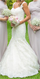 Wedding Dress 8/10 fishtail and embroidered back detail