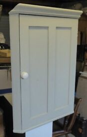 Corner cupboard, painted pine, pale green/grey. Good condition.