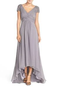 Brand New Designer Eliza J  Shoulder Pleated Chiffon Gown Dress