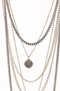 Multi Layered necklace six layers chain charm coin key Black silver brass Diva