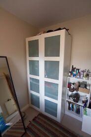 White IKEA 2 Door Wardrobe with Glass Doors