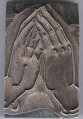 1940s Praying Hands At Prayer Printers Block Lead Stereotype Cut