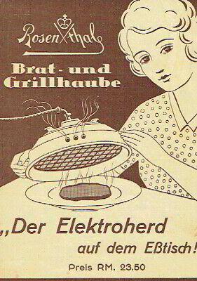 Rosenthal Brat und Grillhaube Elektroherd auf dem Tisch Prospekt Anleitung 1933 ()