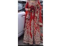 Stunning red wedding lengha