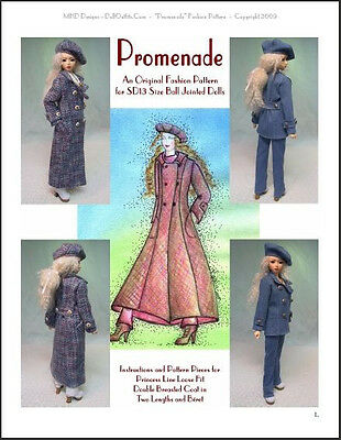 """Promenade"" -  24"" (60 cm) BJD Ball Jointed Doll Fashion Clothing Pattern"