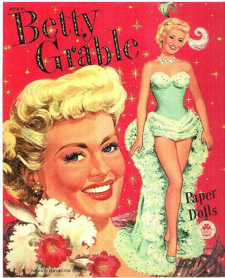 VINTAGE UNCUT 1951 BETTY GRABLE PAPER DOLLS~#1 REPRODUCTION~FANTASTIC/NOSTALGIC