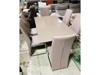 Brown glass dining table 6 leather chairs