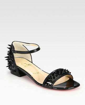 100% AUTHENTIC NEW WOMEN LOUBOUTIN DRUIDE SPIKE FLAT PATENT SANDALS US 11