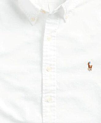 Polo Ralph Lauren Slim Fit Men's Short Sleeve Oxford Shirt, WHITE