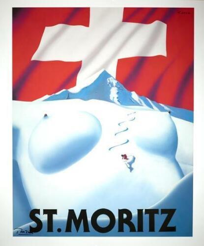ST MORITZ SKIING POSTER SWITZERLAND HAND SIGNED ORIGINAL BY RAZZIA MEDIUM SIZE