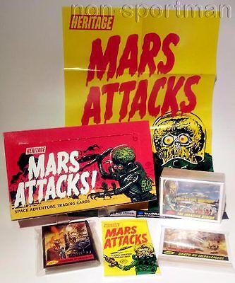 MARS ATTACKS TOPPS HERITAGE SET,MINIPOSTER,EMPTY BOX+