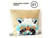 Hipster trash panda raccoon cushion 30x30cm pop decor