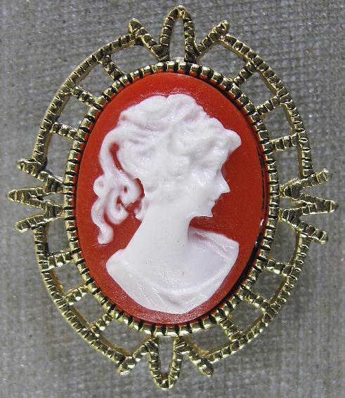 Vintage Pin~Real Nice Goldtone & Resin Cameo~AAI