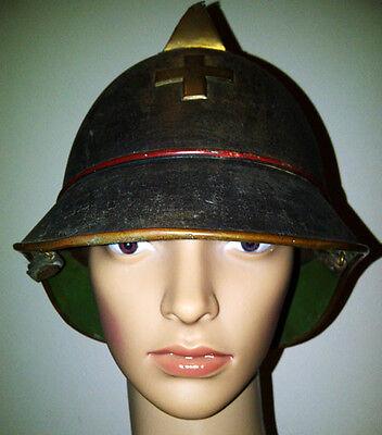 Original Feuerwehrhelm, Feuerpolizei, Messing, Schweiz, 1900 - 1920, Vintage.