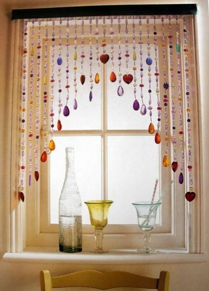 DIY~ Beaded Glass Window Curtain tutorial- going to try this Valentine's Gift