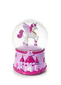 Childrens Kids Baby Girls Magical Musical Unicorn Snow Globe Snow Dome Gift