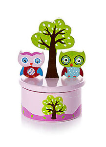 Mousehouse Pink Owl Children's Music Box with It's A Small World Music for Girls