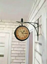 Antique Double Sided Wall Mount Station Clock Vintage Garden Hanging Home Decor
