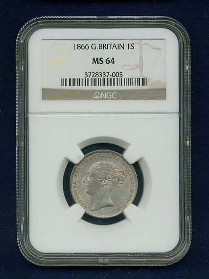 G.B./ENGLAND VICTORIA 1866 SHILLING CHOICE UNCIRCULATED COIN, NGC CERTIFIED MS64