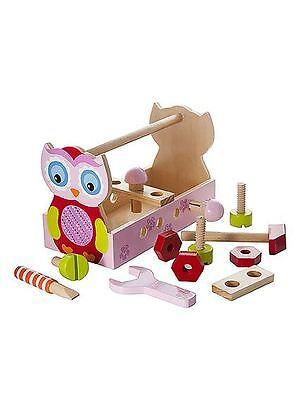 Juguete de Madera Caja herramientas KIT búho Diseñado Para Niñas Chicas Calidad