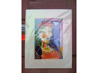 Pablo Picasso Girl With Red Beret Lithograph Print with Mount Frame Painting Picture - BRAND NEW