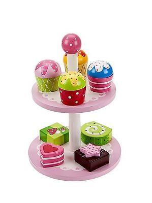 Juguete de madera Pastel Soporte y tortas IDEAL simulación Regalo Para Niñas