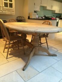Double pedestal extendable Pine kitchen table