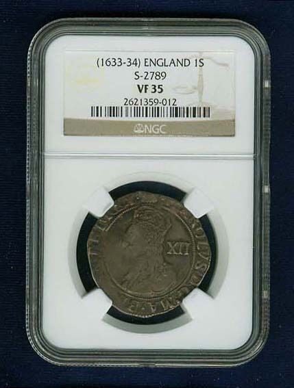 ENGLAND KING CHARLES I  (1633-34)  1 SHILLING SILVER COIN, CERTIFIED NGC VF-35