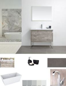 BATHROOM & KITCHEN:VANITY, CABINET,MIRROR,TUB,TILE,FAUCET,SINK