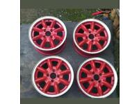 "Four 4 Panasport red wheels g5c8f 14"" *rare* lightweight?"
