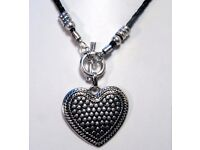 NEW Ladies Jewellery Statement Decorated Heart on T bar plaited black cord