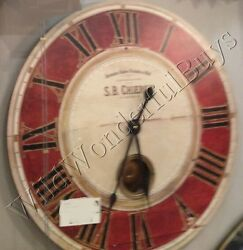 Paris Chieron Wall Clock Red Ivory 23D Round Pendulum Roman Numeral Tuscan New