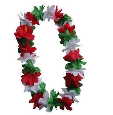 TWO Hawaiian Silk Flower Lei Luau Party Hula Wedding GREEN/RED/WHITE QTY 2 LEIS