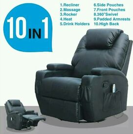 Leather Recliner with Heated Massage and Rocking Function - 2 Months Old