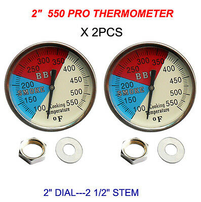 "BUY 2-2"" 550 RWB BBQ CHARCOAL GRILL WOOD SMOKER OVEN PIT TEMP GAUGE THERMOMETER"