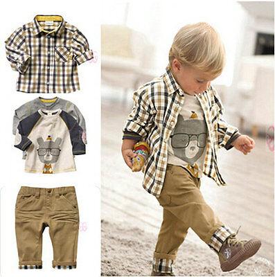3Pcs Toddler Baby Boys Dress Coat + Shirt +Denim Pants Set Kids Clothes Outfits