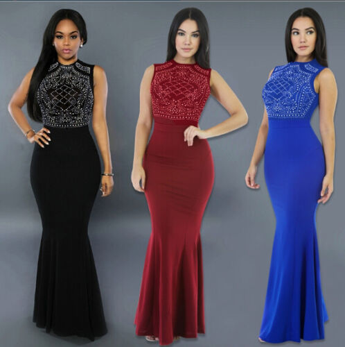 Dress - US STOCK Sexy Women's Long Fitted Beading Sleeveless Mermaid Evening Gown Dress