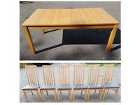 Ikea Extending Bjursta Oak Table & 6 ZONE Solid Oak & Brown Leather Chairs FREE DELIVERY 349