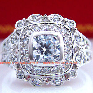 9CT Antique Genuine SOLID White Gold Engagement Rings