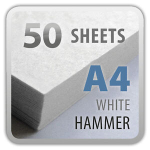 50x A4 Sheets Textured Hammer Linen 100gsm Craft Paper Stock Pack (Zanders Zeta)