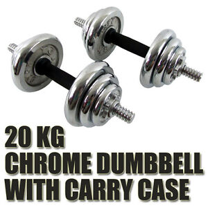 NEW 20kg ADJUSTABLE WEIGHT CHROME DUMBBELL SET BARBELL STRENGHT SET CARRY CASE