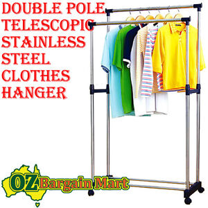 STAINLESS-STEEL-CLOTH-CLOTHES-HANGER-COAT-GARMENT-DRYER-RACK-WARDROBE-DISPLAY